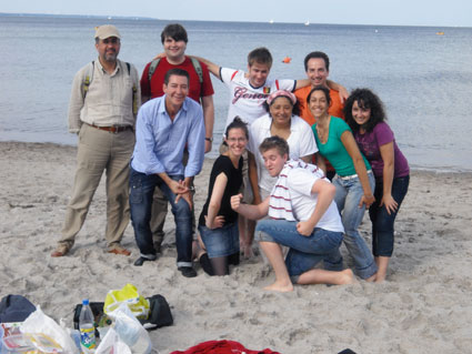 A group of students on the beach at the Baltic Sea
